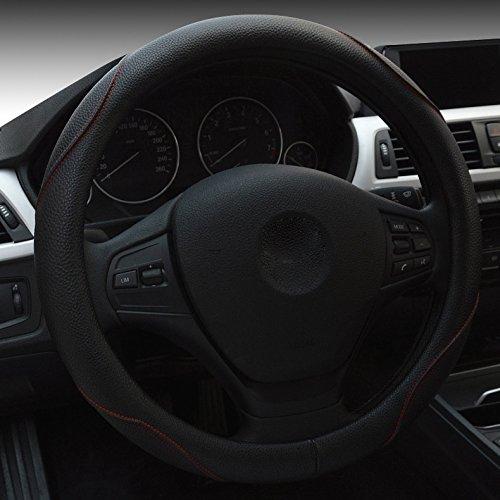 XuanMax Universal Funda de Volante Coche Cuero PU Piel Respirable Vehiculo Cubierta del Volante Envoltura Protectora Antideslizante Auto Steering Wheel Cover 38cm - Negro