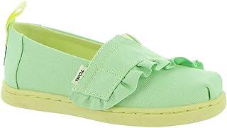 TOMS Girls Alpargata Loafer Flat, Pastel Green Canvas/Ruffle, 10 Little Kid