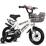 TCGYX Bicicleta for niños Bicicleta for niños y niñas, 12 14 16 Bicicleta de 18 Pulgadas, Disponible en una Variedad de Colores (Color : White, Size : 16-Inch)