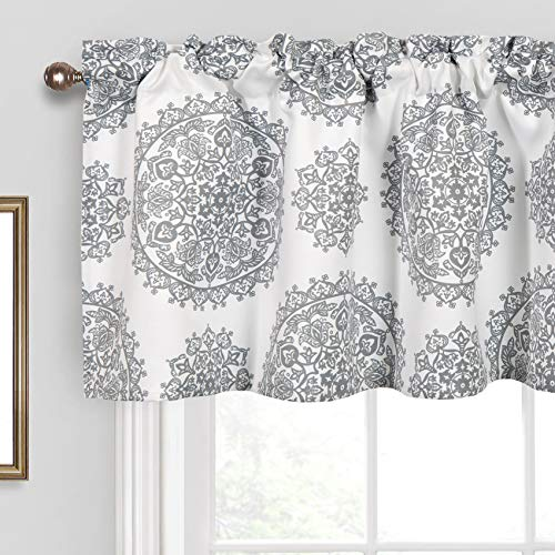 Th3mys Medallion Valance for Windows, Rod Pocket Floral Printed Gray Window Curtain Valance for Living Room Bedroom Kitchen 52 by 18 Inch Gray