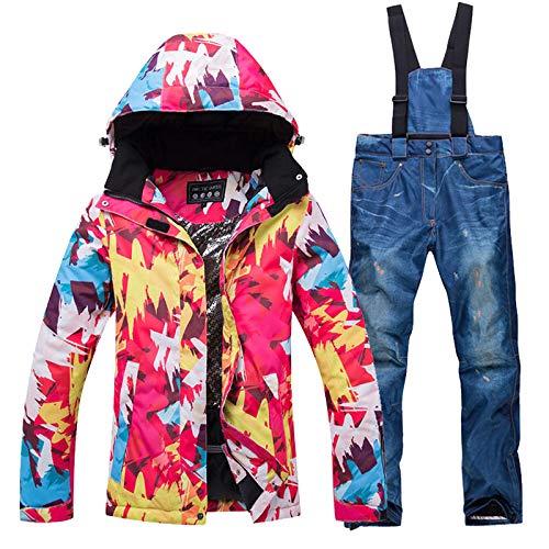 DYH&CTS Chaqueta de esquí, Thick Warm Ski Suit, Women Waterproof/Windproof Skiing Sets Snowboarding Jacket Pants, Winter Female Snow Outdoor Wear,Jacket,Denim Blue,XL