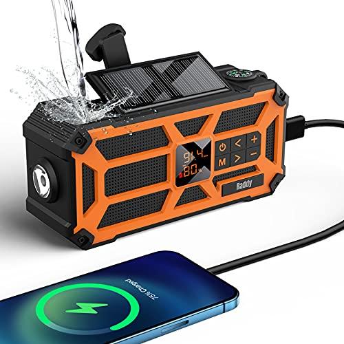 Raddy SW5 Radio Solar de Emergencia Am/FM Radio IPX5 Impermeable Dinamo de Carga Manual con batería de 5000mAh y Carga Solar con Linterna SOS y Banda de Transporte para Camping