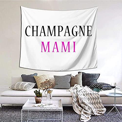 TapicesTapiz del partido del dormitorio de estar del dormitorio de la familia Champagne Mami Tapiz interior personalizado de poliéster estampado 152×130 cm