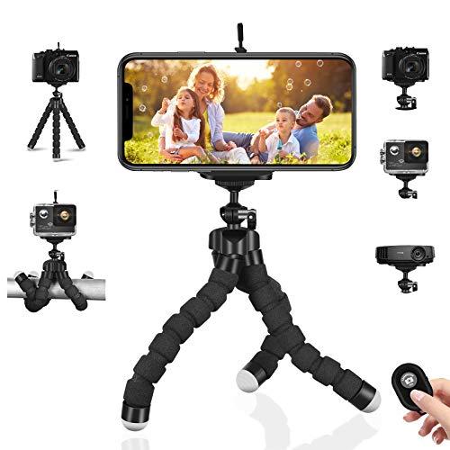 Handy-Stativ Flexible Kamera-Stative Mini tragbare leichte Ständer Inhaber + Bluetooth Remote & Phone Clip für iPhone, Android Samsung, Sportkamera GoPro