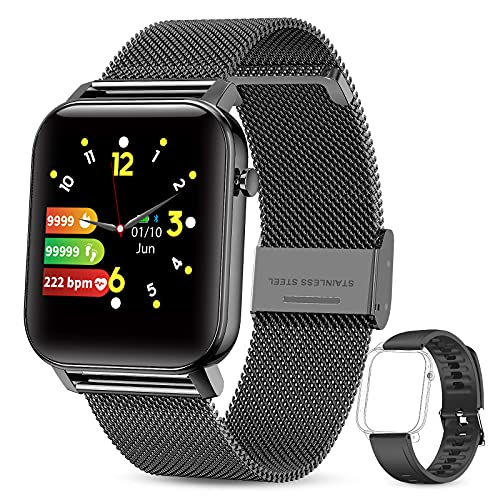 GOKOO Smart Watch for Android iOS IP68 Waterproof 1.4 inch Touch DIY Screen Smartwatch for Men Women with Heart Rate Blood Oxygen Sleep Monitor Fitness Activity Tracker Pedometer