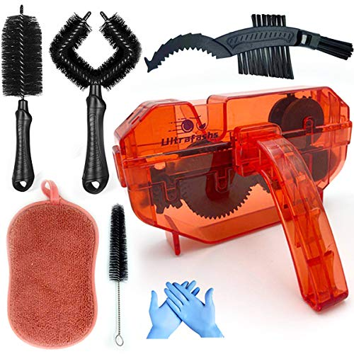 Ultrafashs Bike Chain Cleaner 7 Pieces,Professional Chain Cleaner kit Can Reaching Hard-to-Shift Dirt.Suitable for All Types of Bike,Road, MTB, City, Hybrid,BMX Bike and Folding Bike.