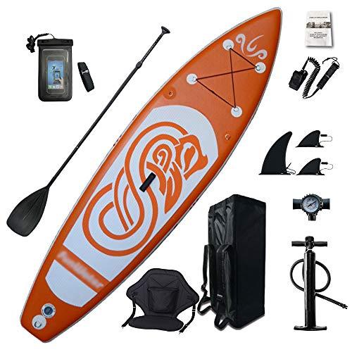 MHMT 10ft Aufblasbare Stand-Up-Paddle-Boards, Pro Importierte Drahtziehstruktur Erwachsene Anfänger Surfen Yoga Sup Paddle-Board Mit Sitz Und Wasserdichter Handyhülle