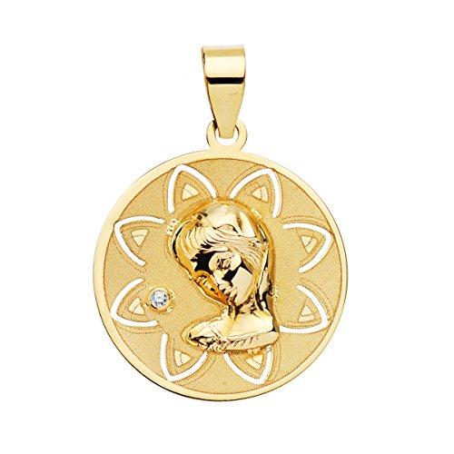 Iyé Biyé Medalla niña comunión Virgen niña 18 mm Oro Amarillo 18 ktes Calada. Grabado Incluido