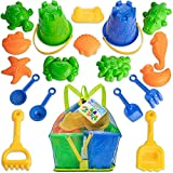 TOYLI Beach Sand Toys Set with 19 Pieces, Buckets, Shovels, Sand Sifters, Rakes, Sand Molds and Carry Bag