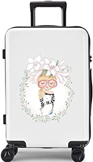 YCYHMYF Password Box Adult Travel Suitcase Suitcase Female Trolley case Hard Shell Cartoon White 24 inch