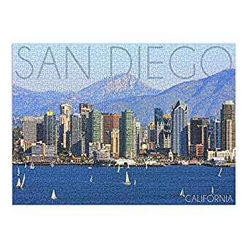 San Diego California Mountains and Sailboats  1000 Piece Premium Puzzle Made in USA