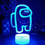 3D Illusion Night Light Among Game Table Lamp USB Powered 7 Colors Led Lights with Touch Switch for Kids Gifts Bedroom Decoration Amoung US lamp