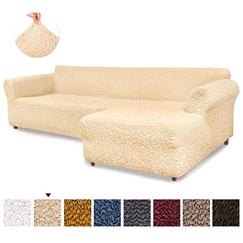 Sectional Sofa Cover - Sectional Couch Covers - L Couch Cover - Soft Polyester Fabric Slipcovers - 1-piece Form Fit Stretch Furniture Slipcover - Microfibra Collection - Vanilla (Right Chase)