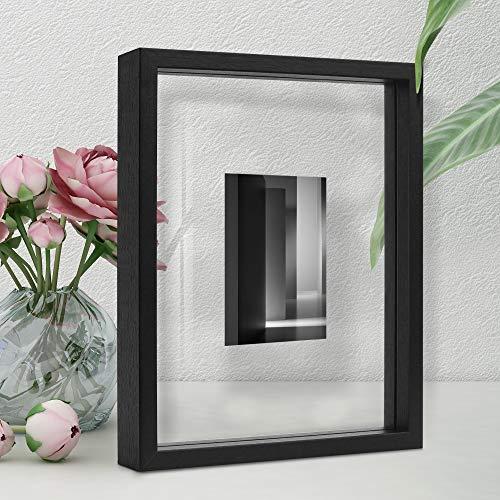 Afuly Bilderrahmen Schwarz Holz Glas 20X25 Schwebender Glasrahmen Doppelglas für Gepresste Blumen, Fotos Desktop oder Wand Geschenke