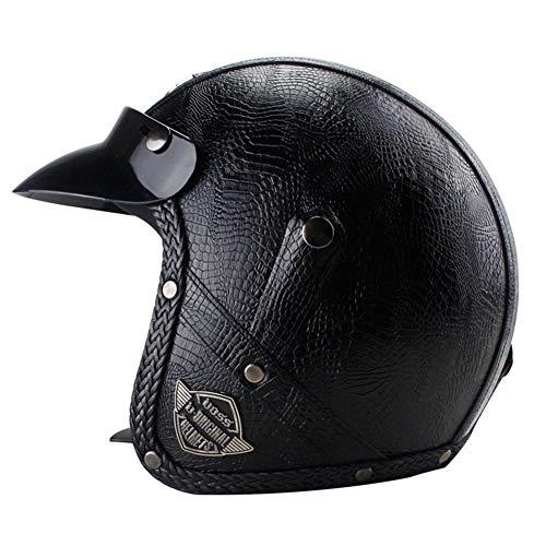 WUYEA Casque De Moto Casque À Moitié Recouvert De Cuir PU 3/4 Automne Et Hiver pour Hommes Et Femmes,Black,M