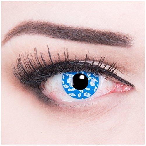 Farbige blaue Crazy Fun Kontaktlinsen crazy contact lenses 'Blue Leopard' 1 Paar perfekt zu Fasching, Karneval und Halloween. Mit gratis Linsenbehälter + 60ml Pflegemitel