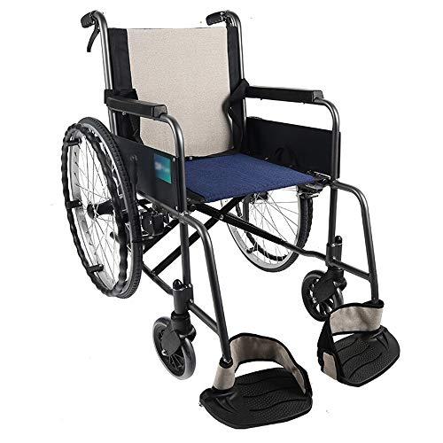 Sillas de ruedas, transpirable de algodón y lino Cojines, Pasamanos a prueba de agua, Volantes antideslizantes, giratorio, Pedales Neumáticos a prueba de explosiones sólido, ligero silla de ruedas por