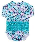 uideazone Swimsuit for Toddler Girls Newborn One Piece Swimwear Rash Guard Long Sleeve Beachwear with Ruffles Bottom 6-12 Months