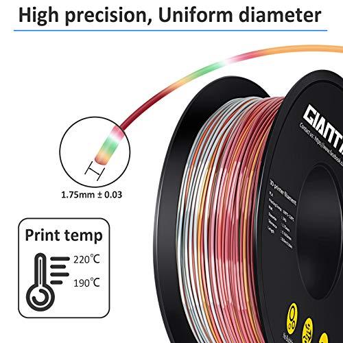 GIANTARM Filamento PLA 1.75mm Silk Multicolore, Stampante 3D PLA Filamento 1kg Spool
