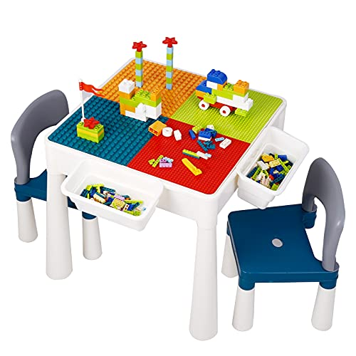 7-in-1 Multi Kids Activity Table Set and 2 Chairs, 360 Pieces Building Blocks Compatible Bricks Toy, Lego Play Table with Storage for Toddler, Safe ABS Material for Boys Girls