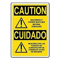 セーフティサイン屋外の壁の装飾の注意電源サービスを切断する前に英語+スペイン語OSHAは、錫金属標識通知セキュリティ記号通り装飾