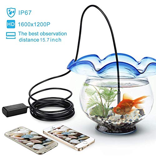 DEPSTECH Wireless Endoscope, IP67 Waterproof WiFi Borescope Inspection 2.0 Megapixels HD Snake Camera for Android and iOS Smartphone, iPhone, Samsung, Tablet -Black(11.5FT)