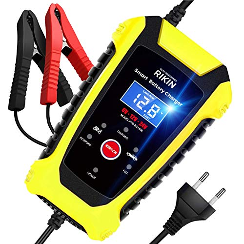 AOKBON Ladegerät Autobatterie 6A 6V/12V/24V Batterie Batterieladegerät Vollautomatisches Intelligentes Erhaltungsladegerät für Auto Motorrad LKW oder Boot