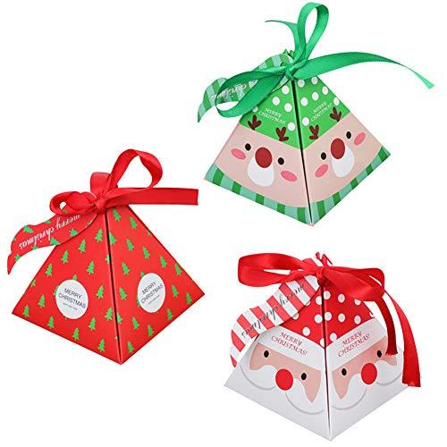 36 cajas de regalo navidad con 36 cinta y 36 etiquetas, cajas papel caramelo juego decorativa cajas de dulces, pasteles, galletas, dulces, Cupcakes, Candy y hecho a mano bebé de cajas de regalo