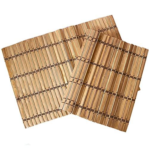 Manteles Bambu Color Madera, Diseño De Bambu, Salvamanteles Individuales Hechos a Mano, Manteles Individuales Antimanchas, 2 x Mantel Individual (45 x 30cm)