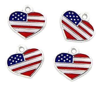 PlanetZia 6pcs Enameled American Flag Heart Charms for Jewelry Making TVT- HYA-FLG