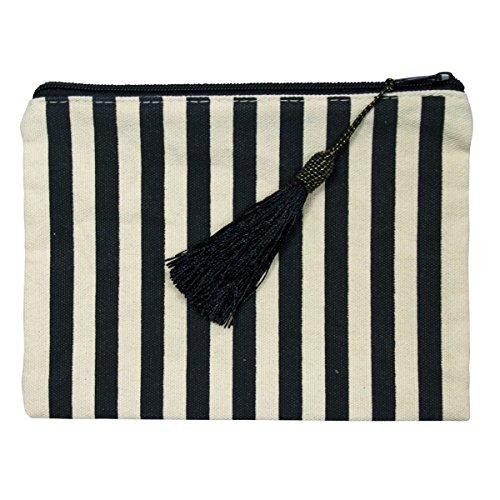 Striped Makeup Pouch Tassle Pouch Tassel Pouches Black Stripe Makeup Bag Stripes Large Zippered Pencil Holder Striped Cosmetic Bag Womens Zipper Travel Bags Student Pencil Organizer Tassel Zip Clutch