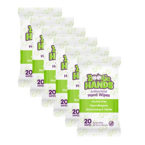 Hand Sanitizer Wipes by Boogie Wipes, Alcohol-Free, Hypoallergenic and Moisturizing Aloe, Boogie Hand Wipes for Adults and Kids, 6 Packs of 20 (120 Total Wipes)