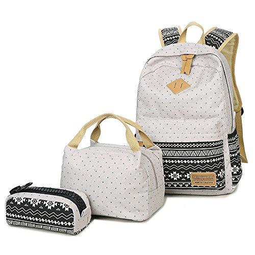 Neuleben Schulrucksack + Kühltasche + Mäppchen Schultaschen 3 Set aus Canvas für Jungen Mädchen Schule Freizeit (Grau)