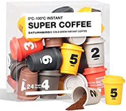 SATURNBIRD Instant Coffee Specialty Grade, Light Medium Dark Roast 6 Flavors, Iced Coffee Cold Brew Packets, 100% Arabica Powder, 24 Single Serve for Camping Traveling Home Office