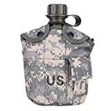 Bnineteenteam Military Style Canteen with Aluminium Lunch Box & Camouflage Cover for Hiking Camping