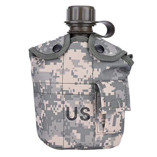 JIMITO Feldflasche Feld Flasche 1 Liter Wasserflasche Camouflage-Campingkessel Militär Kochgeschirr Kommt mit Einer Aluminiumbrotdose für Camping Wandern Überleben