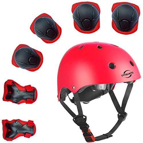 Lucky-M bambini 7 pezzi di sport outdoor Gear set bambine da ciclismo casco di sicurezza e set [ginocchiere, gomitiere e polsiere] rullo per scooter skateboard bicicletta ( 3 - anni Old ) (rosso)