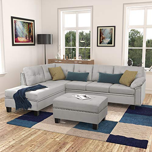 GAOPAN Home Reversible Sectional Sofa with Storage Ottoman & Chaise Lounge Couch,L-Shaped 5 Seater Corner-Sofa with Rivet & Tufted Back Cushions for Living Room Furniture Set & Small Space, Gray-1