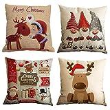 Gspirit Buon Natale Bellissimo Babbo Alce 4 Pack Cuscini per...