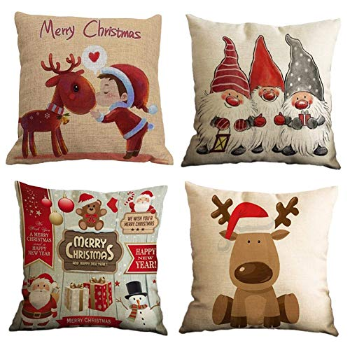 Freeas Set of 4 Christmas Pillow Cover Cotton Linen...