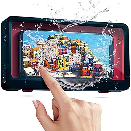 Wasserdichte Handy-Halterung für Badezimmer, Dusche, Telefonzelle, Wandmontage, Badezimmer-Touchscreen, wasserdichte Telefonhalterung (blau)