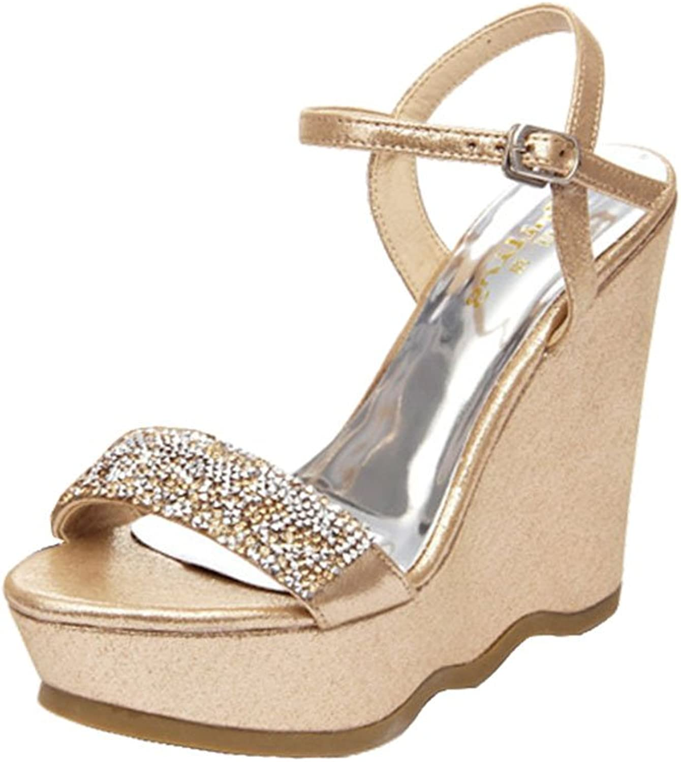 Summer Women's Wedges Heels   Sexy shoes Rhinestone Women's shoes (color   gold, Size   12 cm-37)