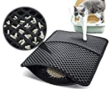 Pecute Tapis Litière Chat Double Couche Pliable, Tapis Bac à Litière pour Chats avec 12mm Grand Trou en Forme de Diamant, Tapis de Toilette Chat Imperméable Antidérapant, Facile à Nettoyer, 60x42 cm