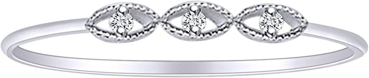 Round White Natural Diamond Accent Anniversary Ring 14K Solid Gold (I-J Color, I2-I3 Clarity)