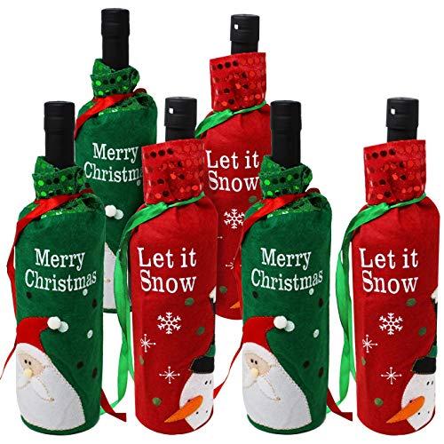 Moji 6 Bolsas de Botellas de Vino navideñas Temporada para ofrecer Vino y Chocolates Ideal para Decoraciones navideñas Cubiertas de Vino