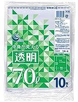 日本技研工業 ポリ袋 透明 70L 厚み0.04mm 伸びやすく裂けにくい 中身が見える 厚くて丈夫 TN-4 10枚入