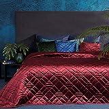 Eurofirany Jeté de lit en Velours matelassé élégant Glamour Chambre à Coucher Salon Chambre d'amis Bordeaux 220 x 240 cm
