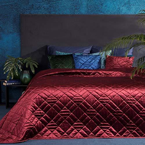 Eurofirany Bettüberwurf Velvet Samt Tagesdecke Gesteppte Decke Überwurf Steppdecke Elegant Edel Glamour Schlafzimmer Wohnzimmer Gästezimmer Lounge, Bordeaux, 220X240cm
