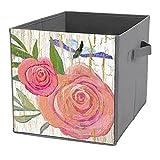 Cajas de almacenamiento plegables, brillantes, modernas, vintage, flores, rosa, mariposa, madera, organizador de contenedores para juguetes, estantes, ropa, libros