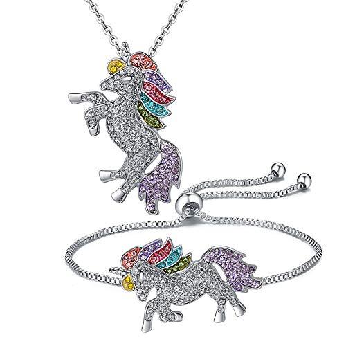 Webcat Presentamos nuevos juegos de joyería: collares con colgante de unicornio arco iris y pulseras de unicornio ajustables para mujeres y niñas.